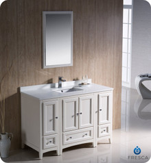 "Fresca FVN20-122412AW 48"" Antique White Traditional Bathroom Vanity Cabinet w/ 2 Side Cabinets & 1 Mirror"