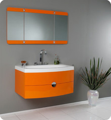 "Fresca Energia FVN5092OR 36"" Modern Bathroom Vanity Cabinet w/ Three Panel Folding Mirror - Orange"