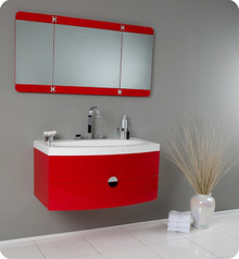 "Fresca Energia FVN5092RD 36"" Modern Bathroom Vanity Cabinet w/ Three Panel Folding Mirror - Red"