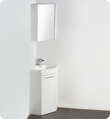 "Fresca Coda FVN5084WH 18"" White Modern Corner Bathroom Vanity Cabinet & Sink & Faucet"