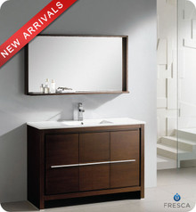 "Fresca Allier FVN8148WG 48"" Wenge Brown Modern Bathroom Vanity Cabinet w/ Mirror - Wenge Brown"