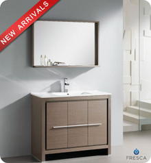"Fresca Allier FVN8140GO 40"" Gray Oak Modern Bathroom Vanity Cabinet w/ Mirror - Gray Oak"