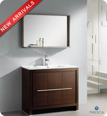 "Fresca Allier FVN8140WG 40"" Wenge Brown Modern Bathroom Vanity Cabinet w/ Mirror - Wenge Brown"