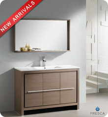 "Fresca Allier FVN8148GO 48"" Gray Oak Modern Bathroom Vanity Cabinet w/ Mirror - Gray Oak"