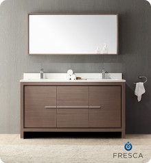 "Fresca Allier FVN8119GO Fresca Allier 60"" Gray Oak Modern Double Sink Bathroom Vanity Cabinet w/ Mirror - Gray Oak"