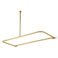 "Kingston Brass CC3132 61"" x 27-5/8"" - 28-5/8"" D Shape Shower Curtain Rod with Ceiling Support - Polished Brass"
