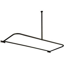 "Kingston Brass CC3135 61"" x 27-5/8"" - 28-5/8"" D Shape Shower Curtain Rod with Ceiling Support - Oil Rubbed Bronze"