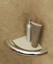 HealthCraft Invisia INV-CS-CP Bathroom Corner Shelf with Integrated Support Rail Grab Bar - Polished Chrome