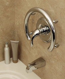 HealthCraft Invisia INV-ACR-CP Shower Accent Ring With Integrated Support Rail Grab Bar - Polished Chrome