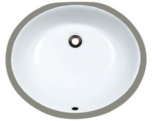 "Polaris PUPM-W Triple Glazed Porcelain Oval Bathroom Undermount Sink 18"" x 15 1/2"" x 6 1/2"" - White"