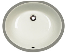 "Polaris PUPM-B Triple Glazed Porcelain Oval Bathroom Undermount Sink 18"" x 15 1/2"" x 6 1/2"" - Bisque"
