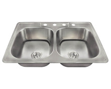 "Polaris PT2201US Topmount Stainless Steel Double Bowl Kitchen Sink 33"" x 22"" x 7 1/2"" - Brushed Satin"