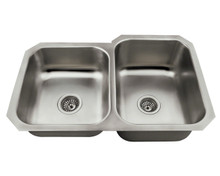 "Polaris PR3501US Offset Double Bowl Undermount Stainless Steel Rectangular Kitchen Sink 31 3/4"" x 20 1/2"" x 7"" - Brushed Satin"