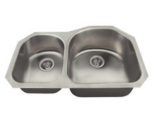 "Polaris PR1301US Offset Double Bowl Undermount Stainless Steel Rectangular Kitchen Sink 31 1/4"" x 20"" x 7 1/4"" - Brushed Satin"