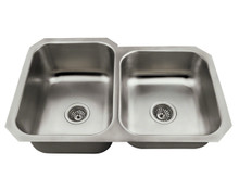 "Polaris PL3501US Offset Double Bowl Undermount Stainless Steel Rectangular Kitchen Sink 31 3/4"" x 20 1/2"" x 9"" - Brushed Satin"