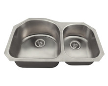 "Polaris PL1301US Offset Double Bowl Undermount Stainless Steel Rectangular Kitchen Sink 31 1/4"" x 20"" x 9"" - Brushed Satin"