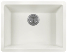 "Polaris P808W Matte White Single Bowl Astrgranite Undermount Rectangular Kitchen Sink 21.63"" x 16.88"" x 7.75"""