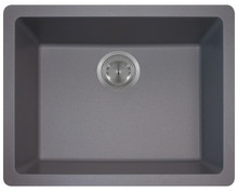 "Polaris P808S Silver Single Bowl Astrgranite Undermount Rectangular Kitchen Sink 21.64"" x 16.89"" x 7.76"" - Matte"