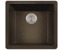 "Polaris P508M Mocha Single Bowl Astragranite Undermount Rectangular Kitchen Sink 17.75"" x 16.88"" x 7.75"""