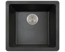 "Polaris P508BL Black Single Bowl Astragranite Undermount Rectangular Kitchen Sink 17.75"" x 16.88"" x 7.75"""