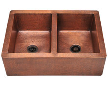 "Polaris P219 Double Equal Bowl Apron Rectangular Kitchen Sink 25"" x 35"" x 9.5"" - Hammered Copper"