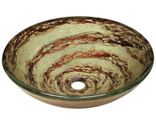 "Polaris P136 Gold With Red Foil Undertone Round Glass Bathroom Vessel Sink 16.5"" x 5.75"""