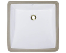 "Polaris P0322UW Triple Glazed Undermount Porcelain Square Bathroom Sink 17"" x 17 1/2"" x 5 1/2"" - White"