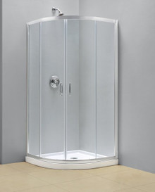 "Dreamline DL-6703-01CL Prime Clear or Frosted Frameless Sliding Shower Enclosure And Slimline 38"" Quarter Round Shower Tray - Chrome Hardware"