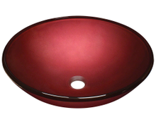 "Polaris P146 Hand Painted 16 1/2"" Round Glass Bathroom Vessel Sink - Red"