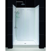 "Dreamline DL-6107C-01FR Infinity-z Frosted Frameless Sliding Shower Door, 36"" X 48"" Single Threshold Shower Base And Qwall-5 Shower Backwalls Kit Center Drain Base"