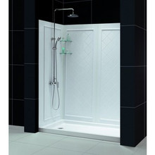"Dreamline DL-6119C-01CL Infinity-z Clear Frameless Sliding Shower Door, 36"" x 60"" Single Threshold Shower Base And Qwall-5 Shower Backwalls Kit - Chrome Hardware"