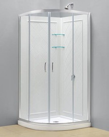 "Dreamline DL-6154-01CL Prime Clear or Frosted 36 3/8"" Frameless Sliding Shower Enclosure, Base And Qwall-4 Shower Backwalls Kit - Chrome Hardware"