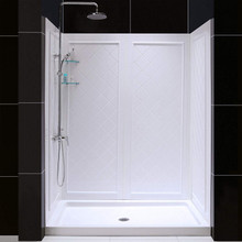"Dreamline DL-6190C-01 Slimline 32"" X 60"" Single Threshold Shower Base And Qwall-5 Shower Backwalls Kit"