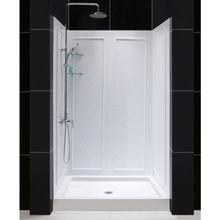 "Dreamline DL-6193C-01 Slimline 36"" X 48"" Single Threshold Shower Base & Qwall-5 Shower Backwalls Kit - Center Drain"