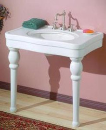 "Cheviot 710-WH-8 Astoria 36"" X 22"" Lavatory Console Sink With White Legs & 8"" Centers - White"