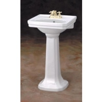 "Cheviot 511/20-WH-8 Mayfair Pedestal Lavatory Sink 20"" X 16"" with 8"" Faucet Hole - White"