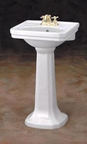 "Cheviot 511/20-WH-1 Mayfair Pedestal Lavatory Sink 20""W  X 16"" D with Single Faucet Hole - White"