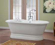 "Cheviot 2165w Carlton Freestanding Cast Iron Bath Tub With Pedestal Base 70"" X 32"" X 26"" - White"