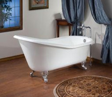 "Cheviot 2132w Slipper 68"" Cast Iron Clawfoot Bath Tub With Continuous Rolled Rim White - Choice Of 6 Feet Colors"