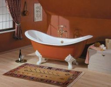 "Cheviot 2114w Regency 72"" Cast Iron Freestanding Footed Tub With Lion Feet White - Choice Of 6 Feet Colors"