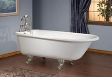"Cheviot 2106w Traditional 68"" Cast Iron Freestanding Clawfoot Tub No Flat Area White - Choice Of 6 Feet Colors"