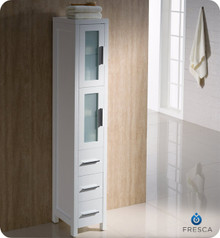 "Fresca Torino FST6260WH White Tall Bathroom Linen Side Cabinet 12"" H X 15"" W X 68 1/8"" L - White"