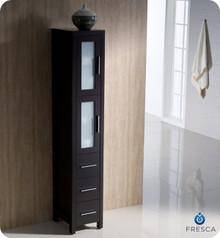 "Fresca Torino FST6260ES Espresso Tall Bathroom Linen Side Cabinet - 15"" D x 68.13"" H x 12"" W"