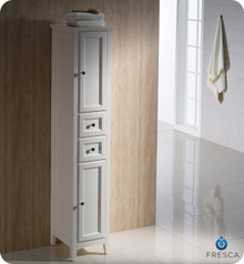 "Oxford FST2060AW Antique White Tall Bathroom Linen Cabinet 14"" H X 15 3/4"" W X 68"" L - Antique White"