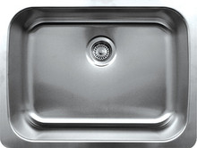 "Whitehaus WHNU2519 25 1/4"" Noah's Collection Single Bowl Undermount Kitchen Sink - Brushed Stainless Steel"