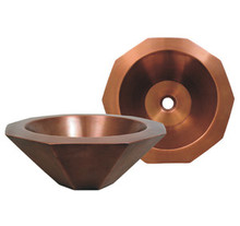 "Whitehaus WHOCTDWV16 16 1/4"" Copperhaus Decagon (10 Sides) Shaped Lavatory Vessel Sink - Smooth Bronze"