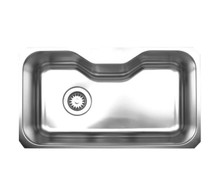 "Whitehaus WHNUA3016 32 1/2"" Noah's Collection Single Bowl Undermount Kitchen Sink - Brushed Stainless Steel"