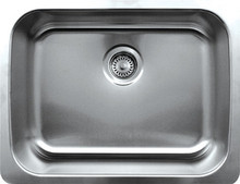 "Whitehaus WHNU2318 23 1/2"" Noah's Collection Single Bowl Undermount Kitchen Sink - Brushed Stainless Steel"