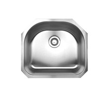 "Whitehaus WHNU2119 23 1/4"" Noah's Collection Single Bowl D Shape Undermount Kitchen Sink - Brushed Stainless Steel"