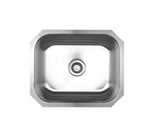"Whitehaus WHNU2016 22 1/4"" Noah's Collection Single Bowl Undermount Kitchen Sink - Brushed Stainless Steel"